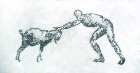 Wrestling 水墨、宣纸 Ink on Xuan Paper, 126×66cm, 2019